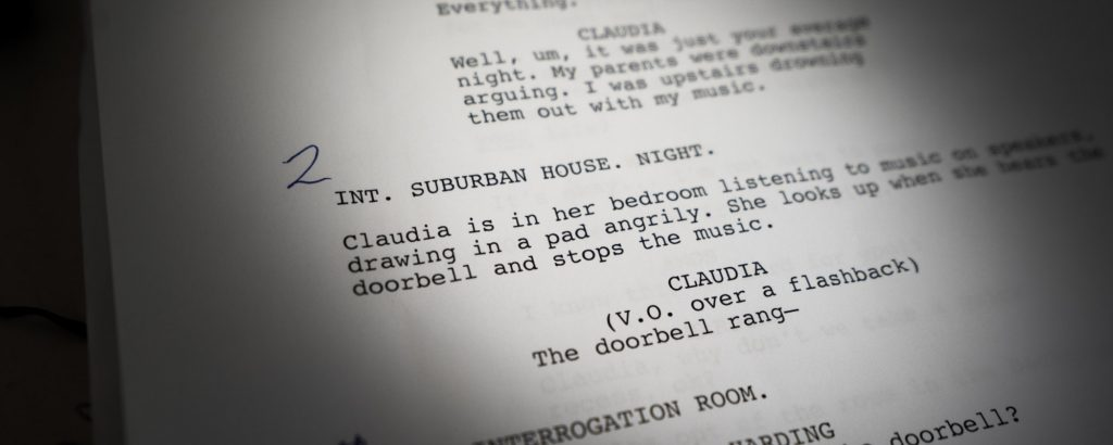 a closeup of a page from a screenplay