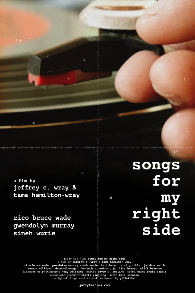 poster for the film Songs For My Right Side featuring a closeup of a hand putting a needle on a record