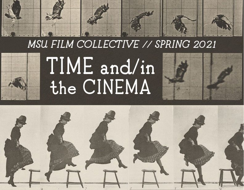 """poster image featuring sequential images of a bird flying and a woman jumping and the text """"Time and/in the Cinema"""""""