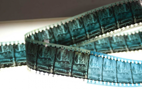 strip of blue colored film